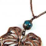 Simple copper leaf necklace..