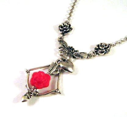 Silver tone roses, bow and arrow necklace jewelry with red resin flower and heart charm