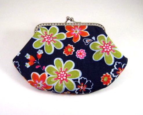 Green and orange flowers on dark blue frame pouch - Frame purse - Silver purse frame