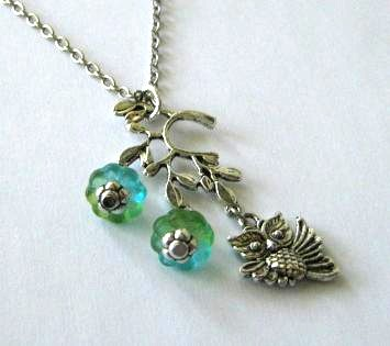 Antiqued silver owl necklace jewelry with branch pendant and blue green flowers