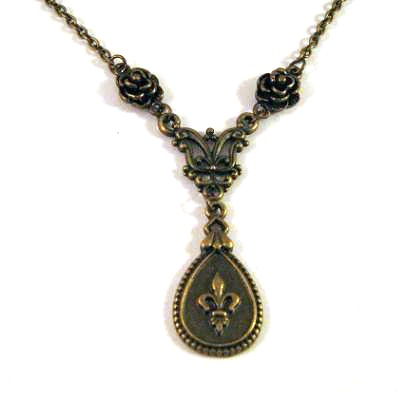 Simple Fleur De Lis necklace jewelry with rose flower charms
