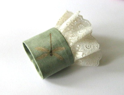 Fabric cuff bracelet dragonfly - Romantic Light green cuff with ivory lace