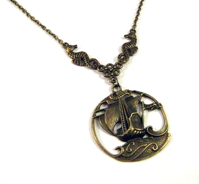 Sailboat necklace jewelry with antiqued bronze seahorses