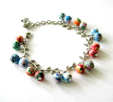 Silver branch bracelet jewelry with colorful polymer clay beads - Twigs bracelet
