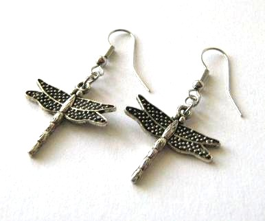 Antiqued silver dragonfly earrings jewelry