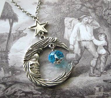 Antiqued silver moon and star necklace jewelry with blue crystal - Moon goddess - Celestial