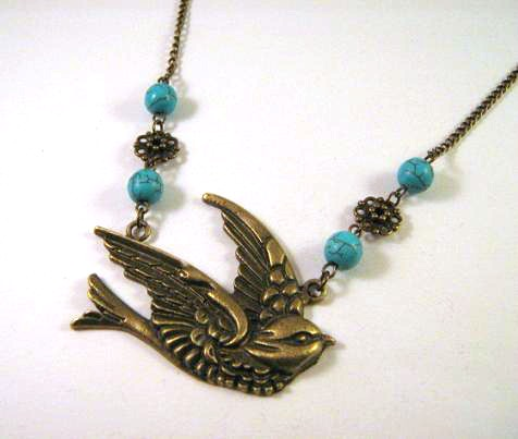 Swallow necklace jewelry with howlite turquoise stones