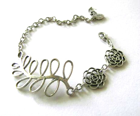 Antiqued silver big leaf bracelet flower jewelry