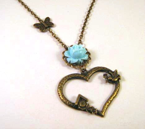 Blue resin flower necklace bronzed heart jewelry sparrow bird house butterfly charm