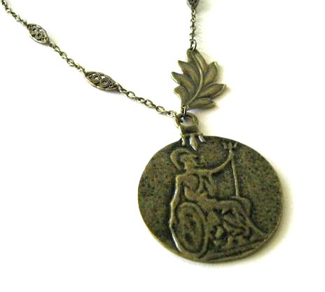 Antiqued bronze roman warrior necklace leaf jewelry long chain