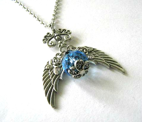 Antiqued silver wings necklace light blue crystal jewelry