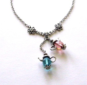Pink teapot and blue teapot necklace jewelry