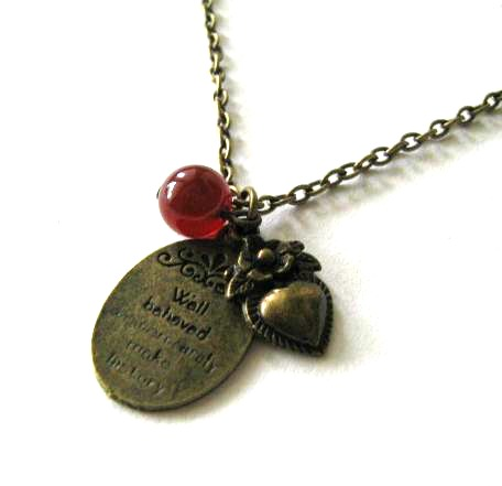 Charm necklace heart and carnelian jewelry