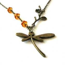 Bronzed dragonfly necklace jewelry with flower branch pendant and Czech amber flower beads